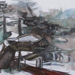 Tao Hua Tan Paifang, Ink & Acrylic on Canvas, 40x47 inches, 2017