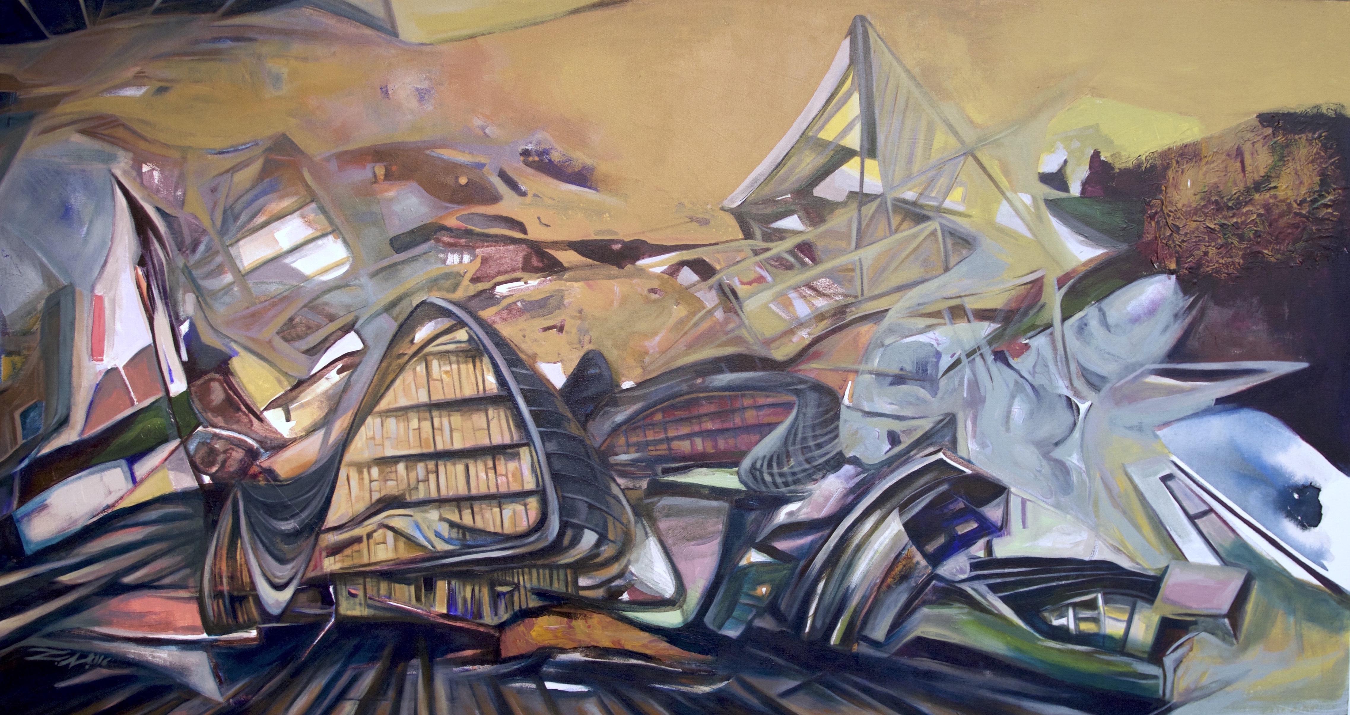 Urban Landscape, acrylic on canvas 36x68 inches, 2016