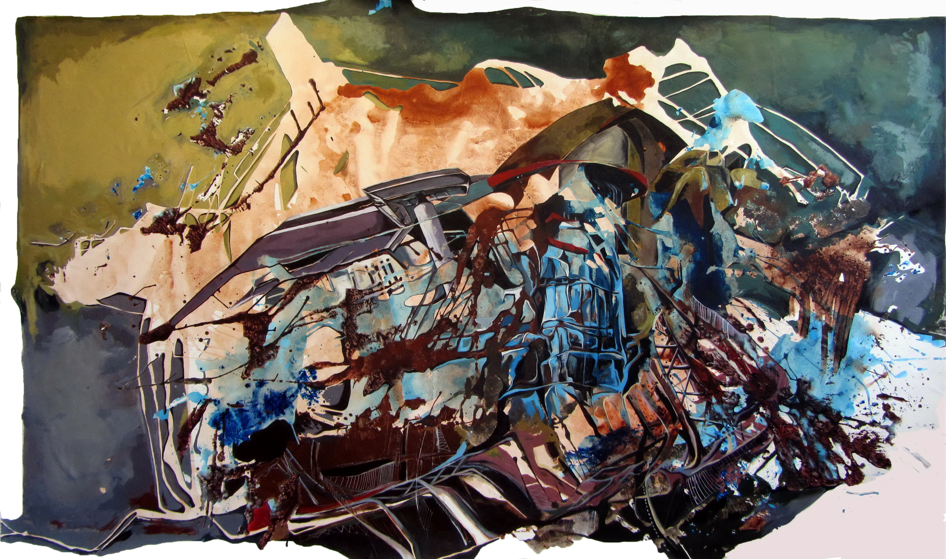 Cityscape Remix, acrylic on canvas 83x141 inches, 2012