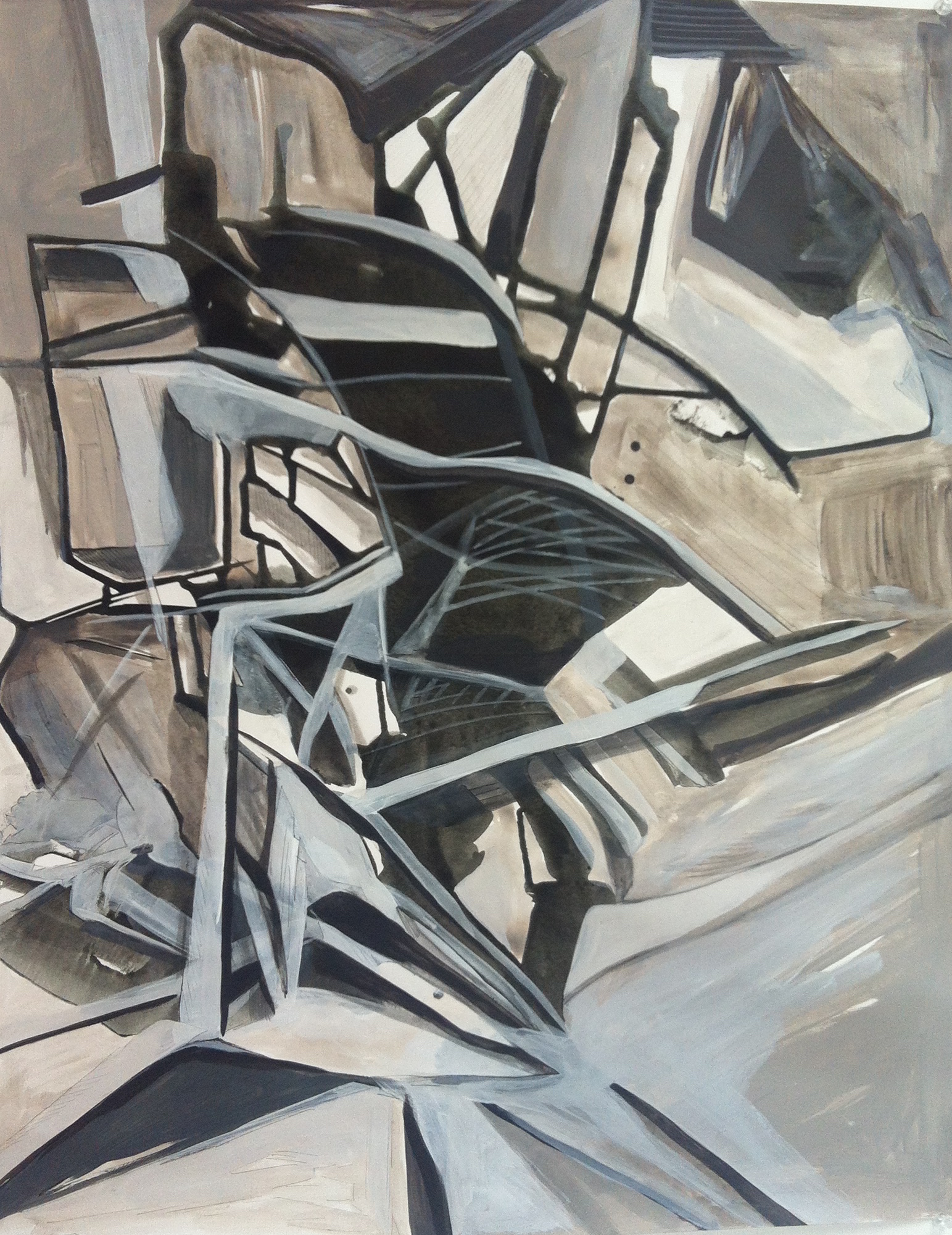 Urban Structure, acrylic on paper, 30x22 inches, 2015