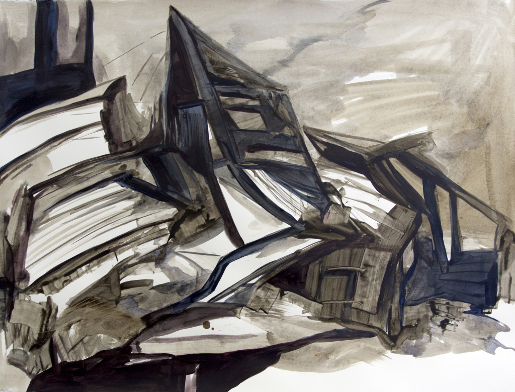 Untitled #56, acrylic on arches paper, 22x30 inches, 2015
