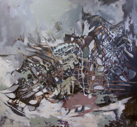 Outpost, mixed media on canvas, 55x60 inches, 2012