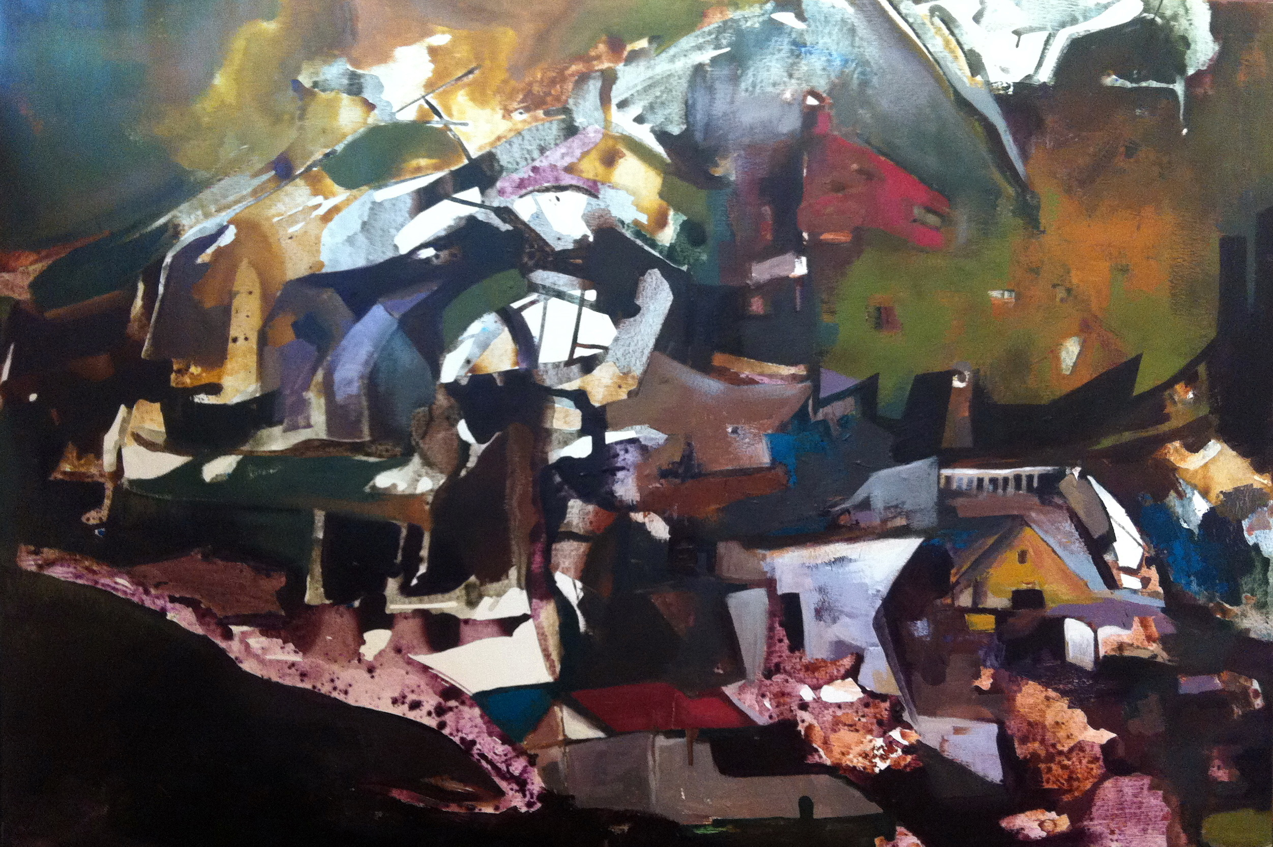 Sunset in Park City, acrylic on canvas, 34x50 inches, 2012