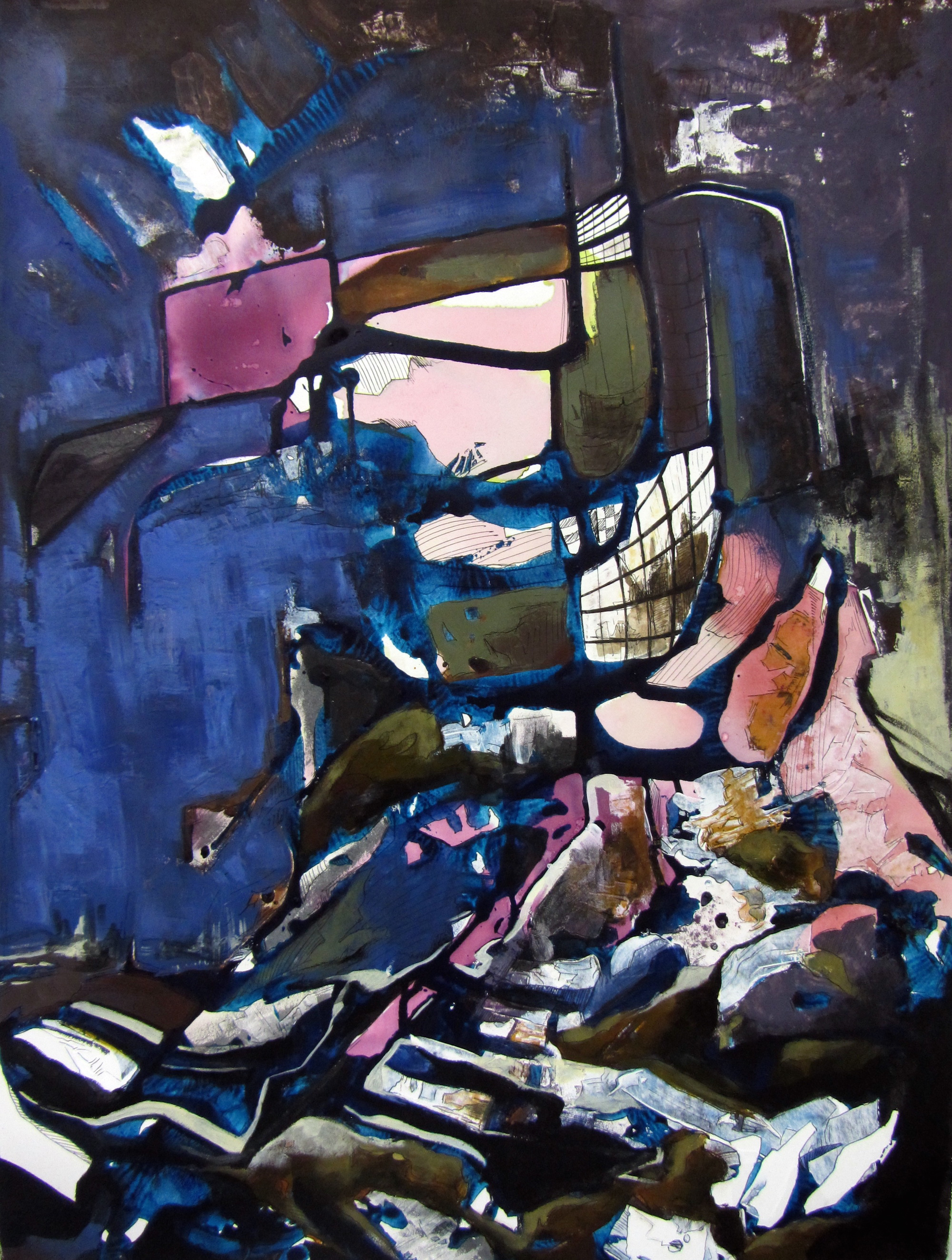 Deconstructed City, acrylic on paper, 36.5x29 inches, 2013