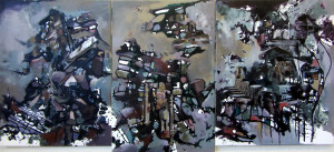 Site #12, mixed media on canvas, 28x61 inches, 2012