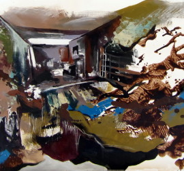 Panorama #31, mixed media on canvas, 21x57 inches, 2012