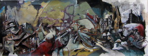 Panorama #17, mixed media on canvas, 21x57 inches, 2012
