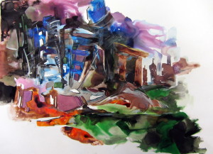 Jaunty Forms; A Lively Spirit, watercolor & ink on paper, 29x36.5 inches, 2012