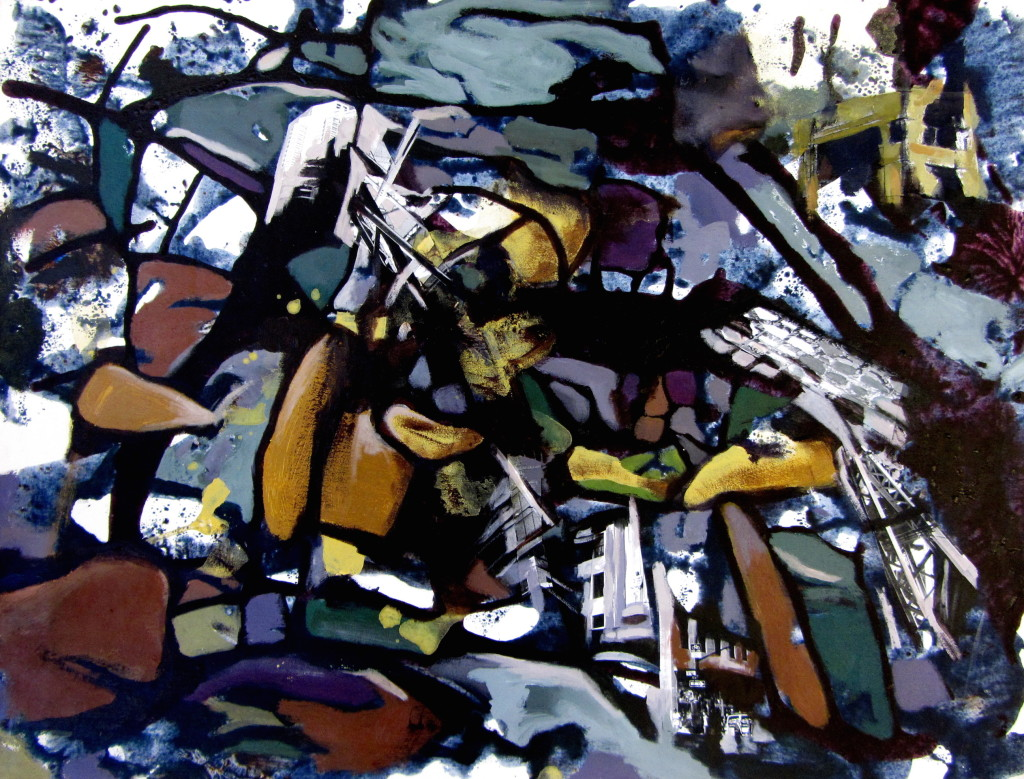 Rubble, mixed media on canvas, 18x23 inches, 2011