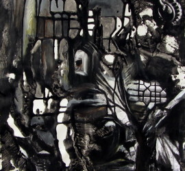 Ascension, mixed media on canvas, 27x19 inches, 2011