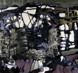 Voyage, mixed media on canvas, 23x45 inches, 2011