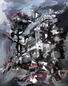 Approaching the City, mixed media on paper, 28x22 inches, 2011