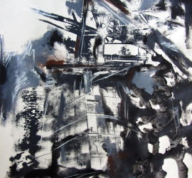 Approaching the city #4, mixed media on paper, 24x17 inches, 2011