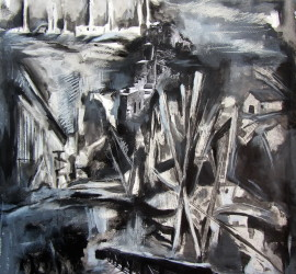 Departure, mixed media on paper, 30.3x22 inches, 2011