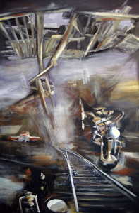 Fall of Waiting, mixed media on canvas, 47x31 inches, 2008