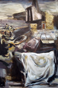 Far-Away, mixed media on canvas, 47x31 inches, 2008
