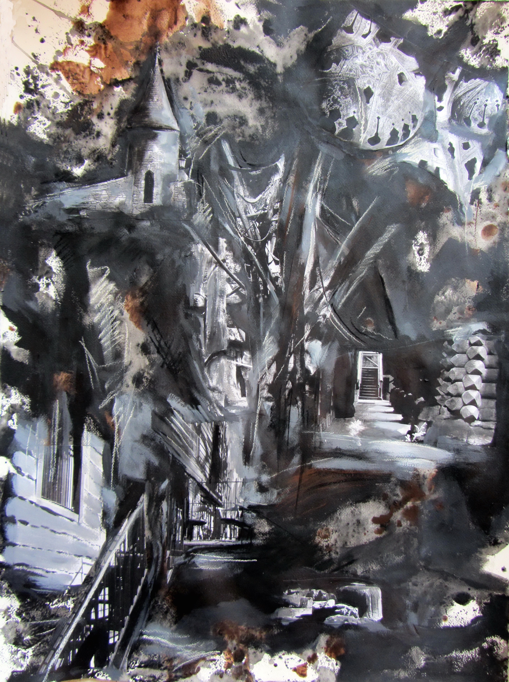 Nightview, mixed media on paper, 30.3x22 inches, 2011