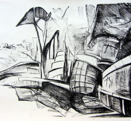 Emergence #2, stone lithograph print, 11x15 inches, 2013