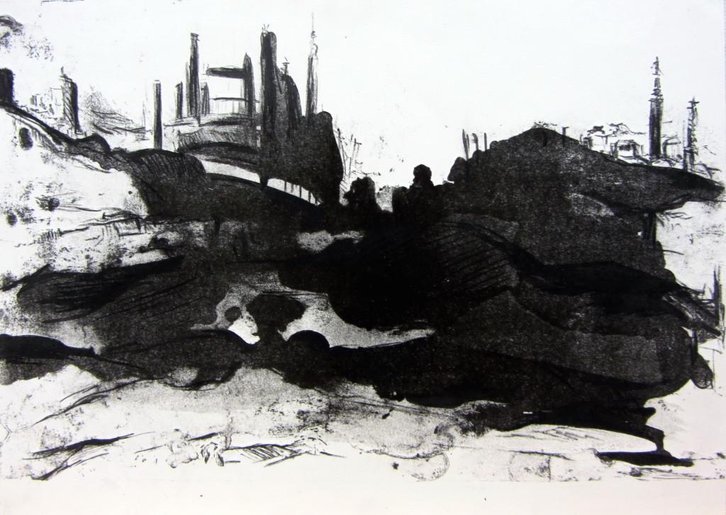 Landscape #11, stone lithograph print, 11x15 inches, 2013