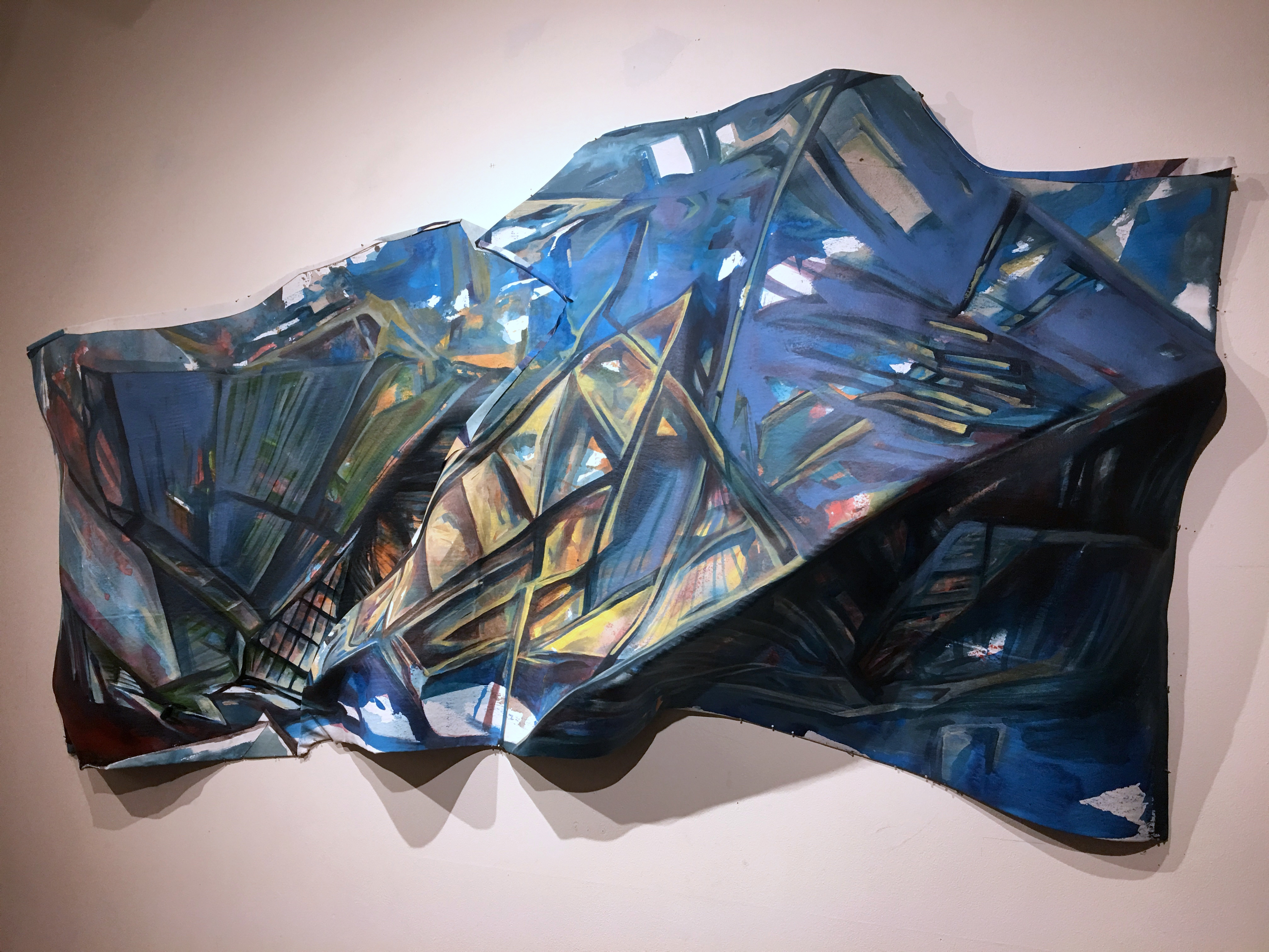 Futuristic Fabrication, acrylic on shaped canvas, 38x70x12 inches, 2016