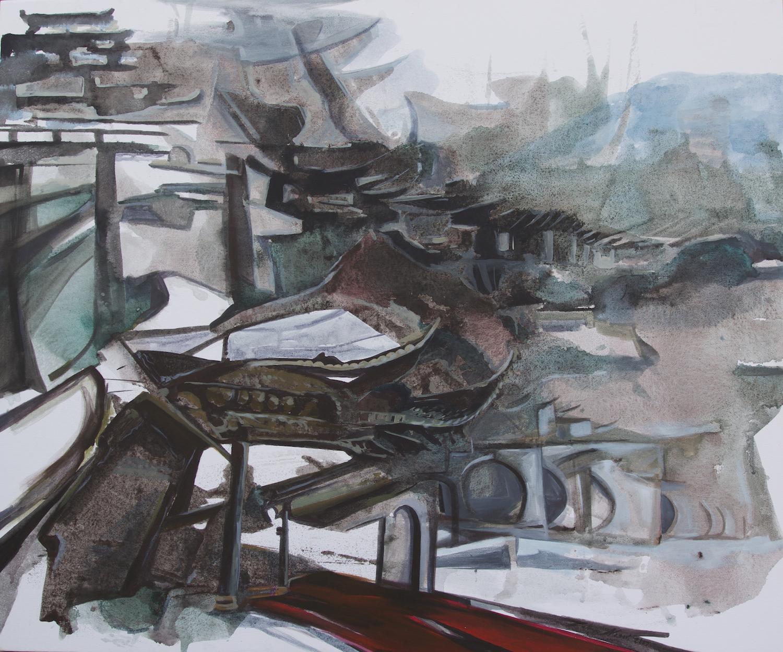 Tao Hua Tan Paifang, acrylic & ink on canvas, 40x47 inches, 2017