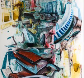 Converge, acrylic on mylar, 68x36 inches, 2019