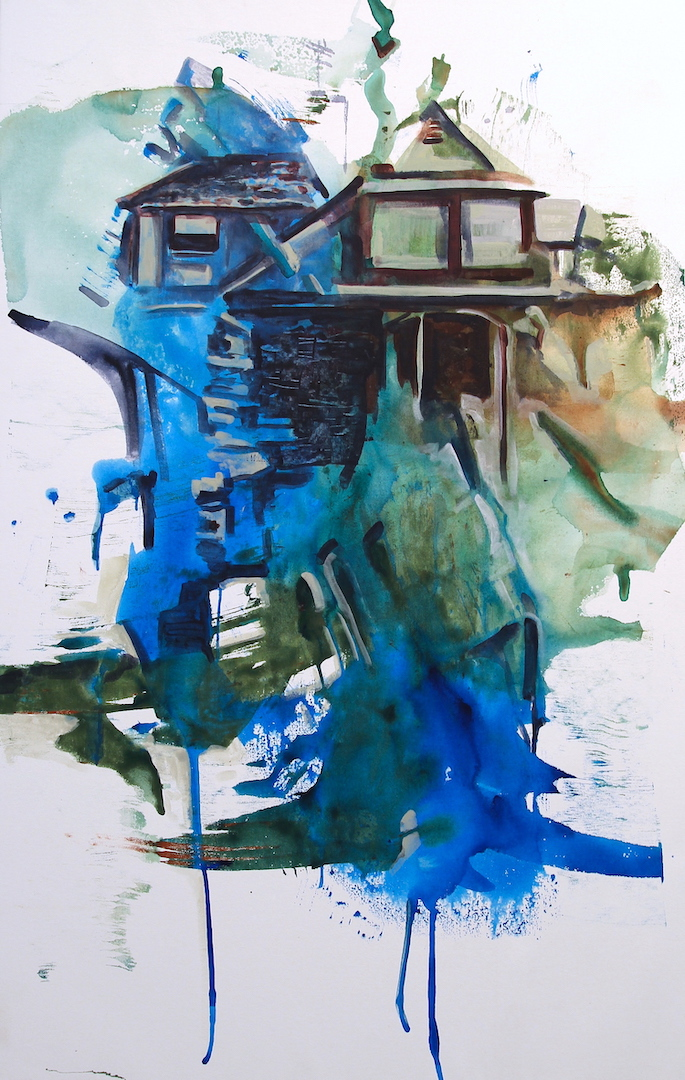 The House by the Water, acrylic on canvas 56x36 inches, 2019