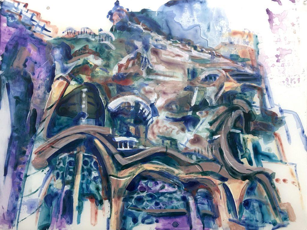 Casa Batlló, acrylic on mylar, 18x24 inches, 2020