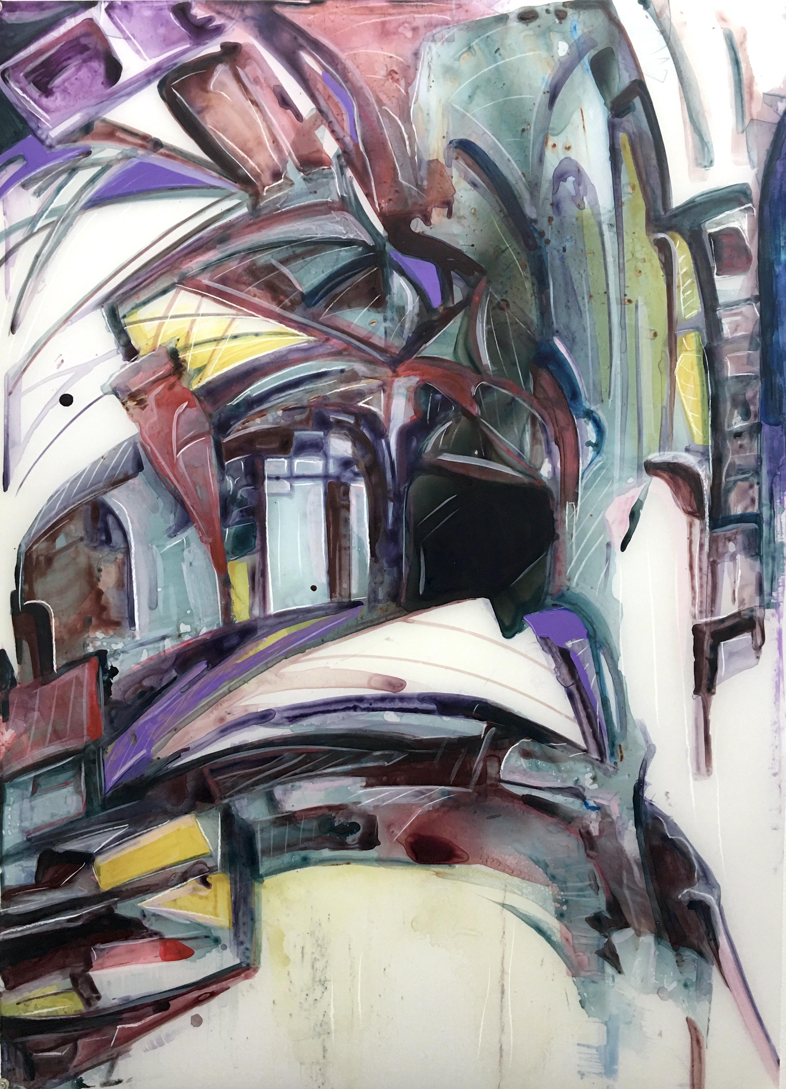 Courtyard, acrylic on mylar, 36x23 inches, 2020