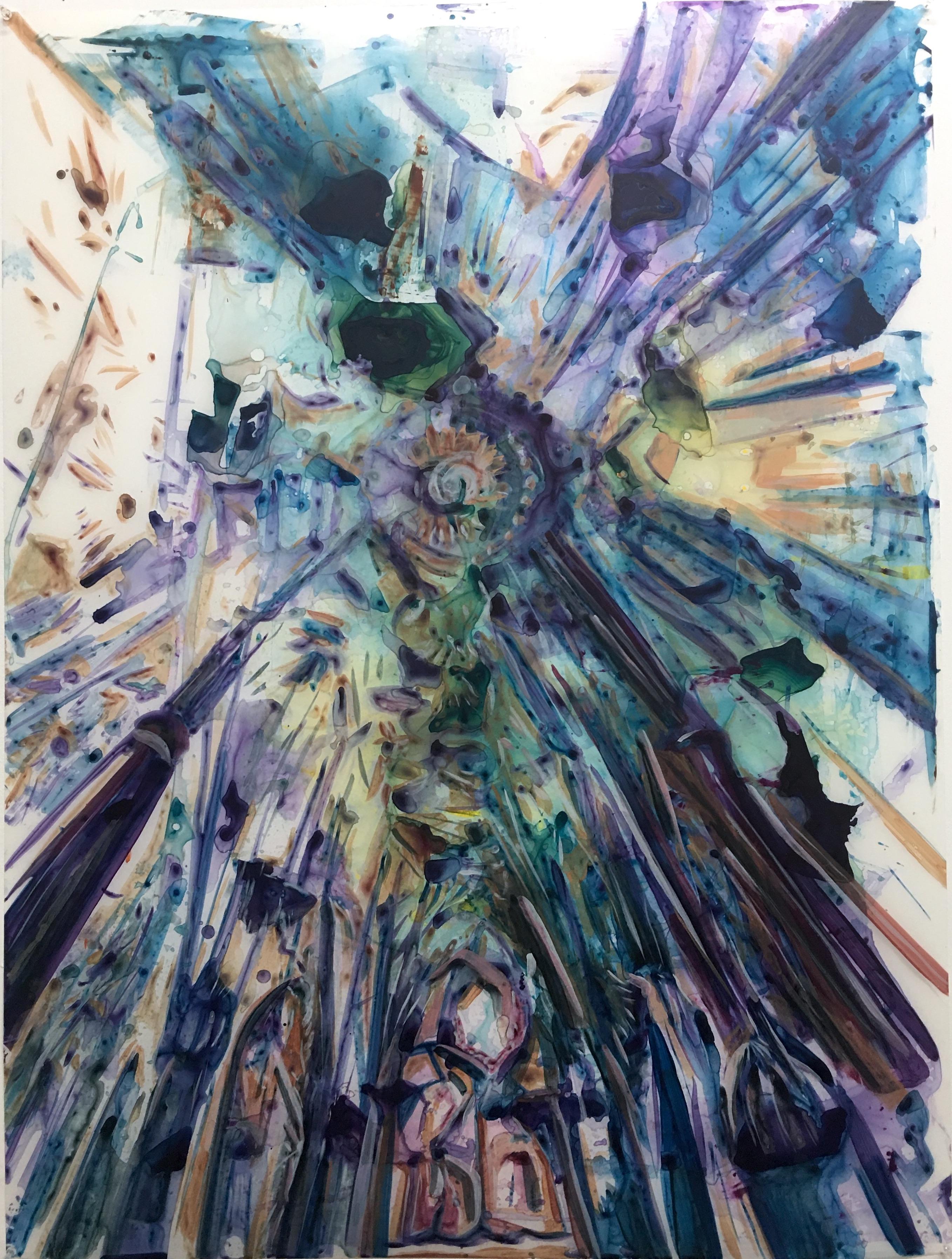 La Sagrada Familia, acrylic on mylar, 48x36 inches, 2020
