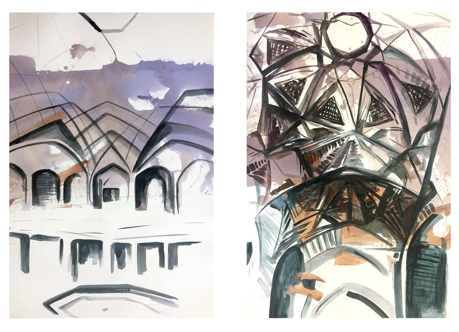 The Complexity of Looking, acrylic on paper, 22x15 inches each, 2020