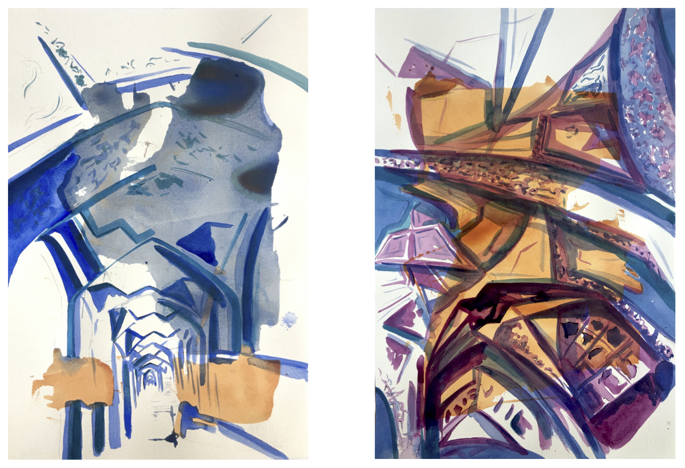 Elements of Design, acrylic on paper, 22x15 inches each, 2020