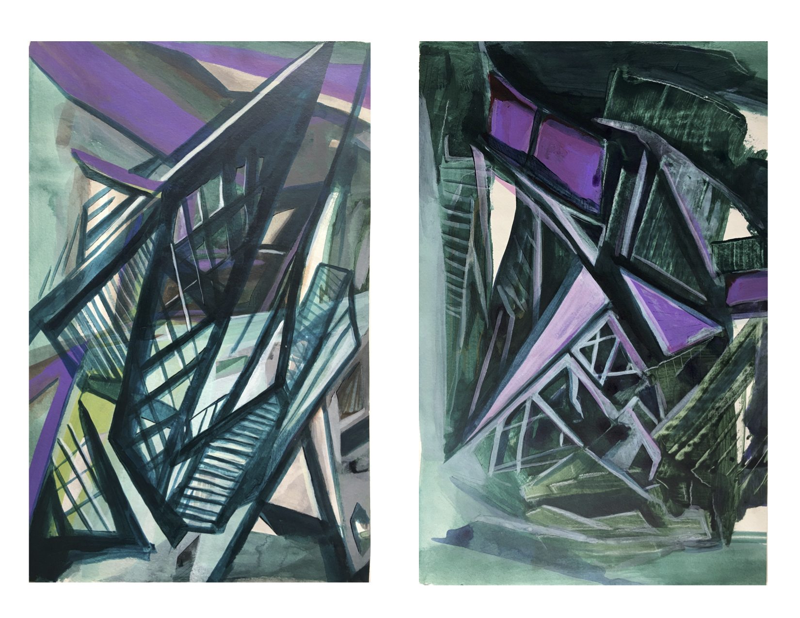 Deconstructivism, acrylic on paper, 19x12.5 inches each, 2020