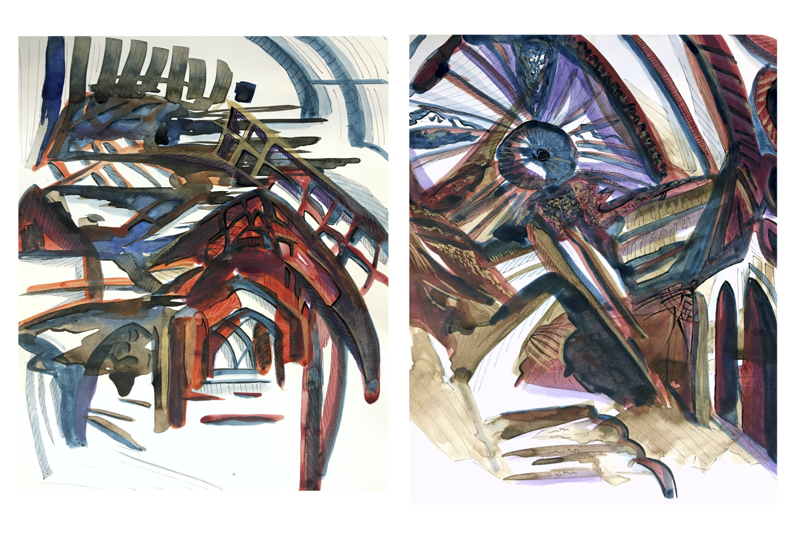 Studies of 17th Century Persian Architecture, acrylic on paper, 13.5x11 inches each, 2020