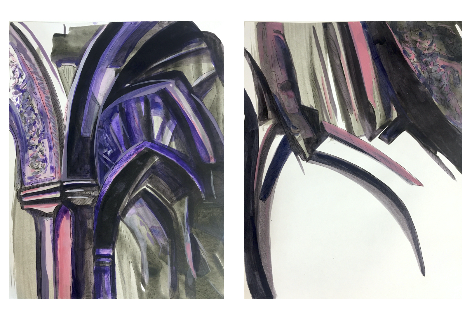 Interiors of 17th Century, acrylic on paper, 14x11 inches each, 2020