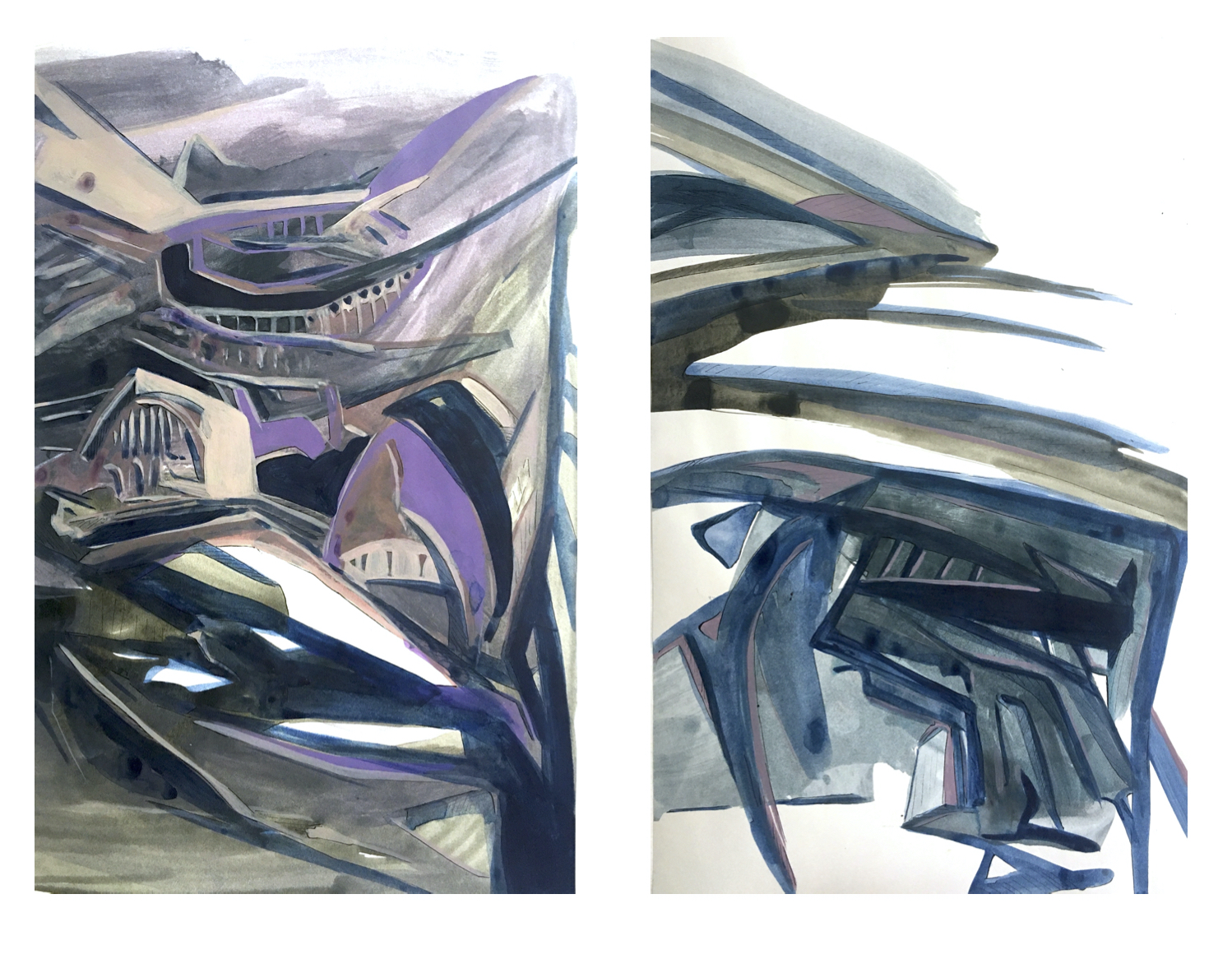 Futuristic Cities, acrylic on paper, 22x14 inches each, 2020