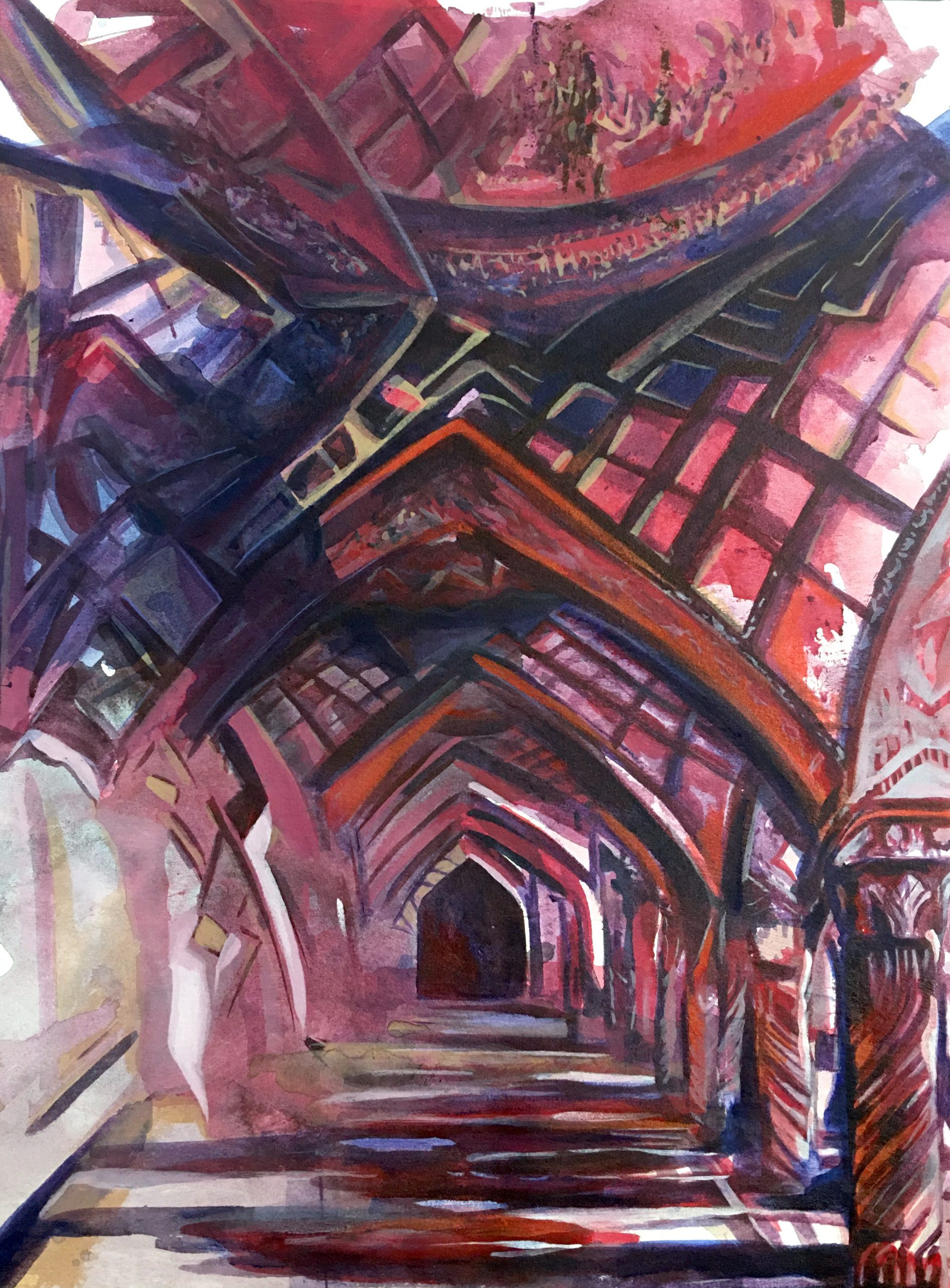 Nasir al-Mulk Mosque, acrylic on canvas, 40x30 inches, 2020