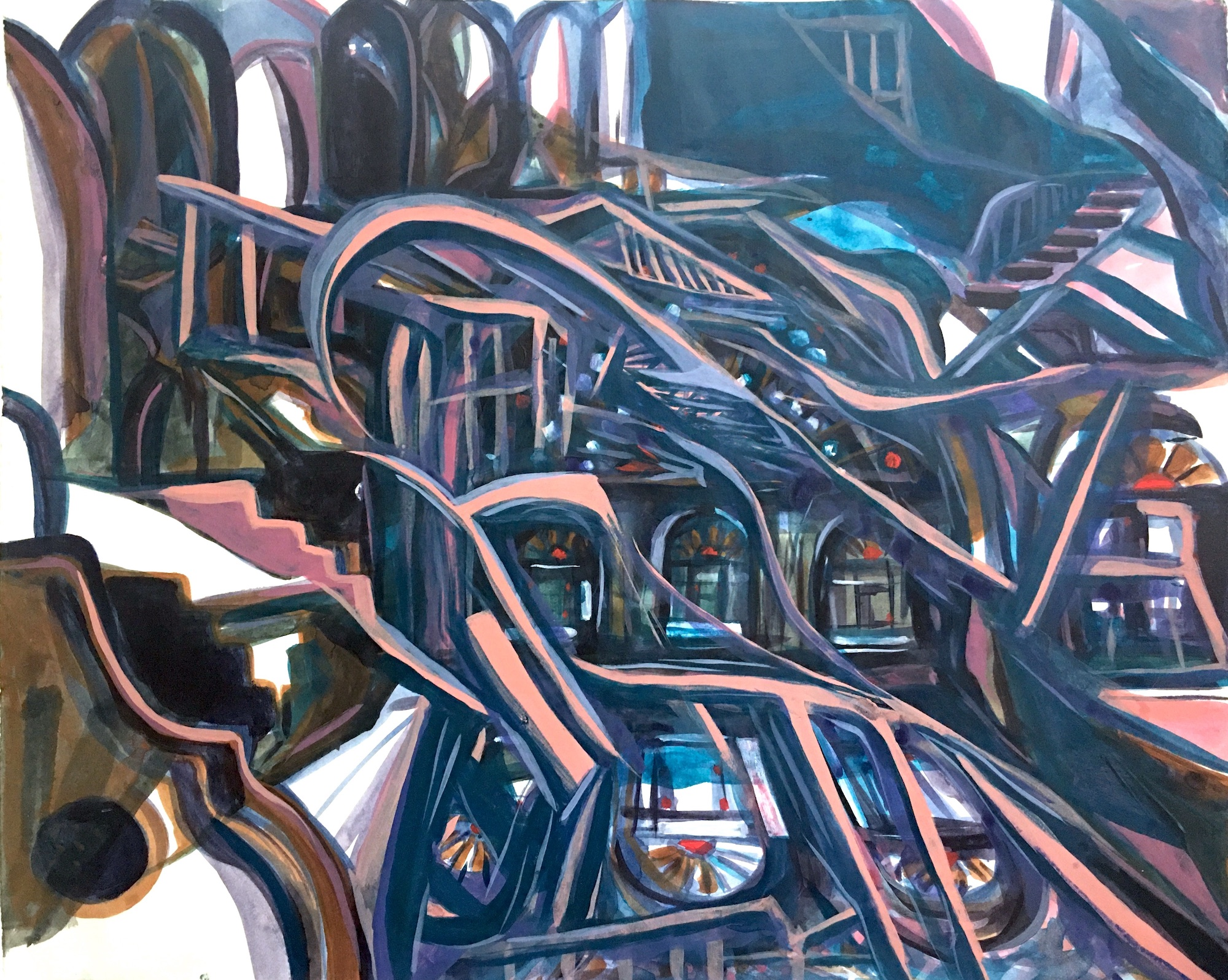Night View of Persian Homes with Stained Glass Windows, acrylic on paper, 18x22 inches, 2020