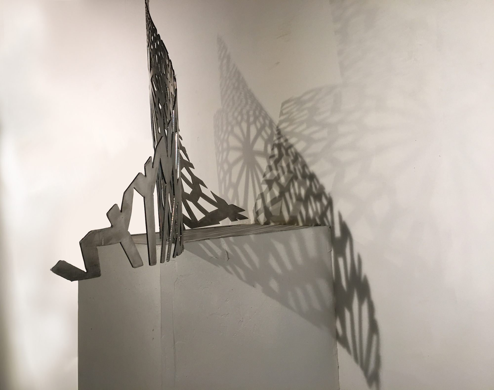 Patterns of Persia, side view, 12 gauge stainless steel, 25x48x11 inches, 2020